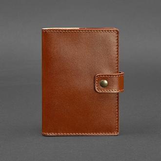 Кожаная обложка для паспорта 5 (с окошком) светло-коричневая