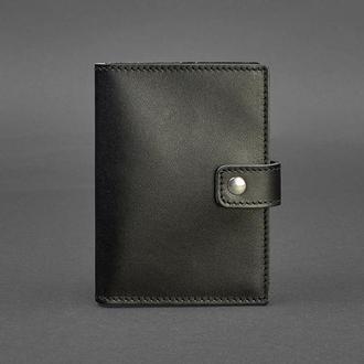 Кожаная обложка для паспорта 5 (с окошком) черная