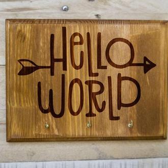 "Настенная ключница ""Hello world"" из дерева"