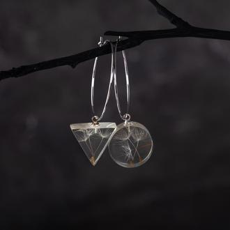 Серьги кольца с подвесками из эпоксидной смолы с еменами одуванчика