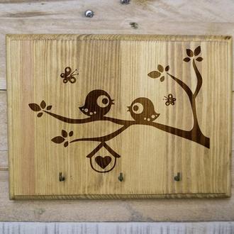 "Настенная ключница ""Птички"" 21 из дерева"