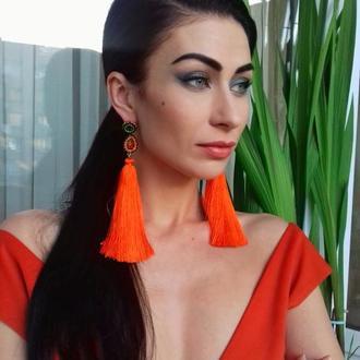"""Шелковые оранжевые серьги-кисти """"Солнце Парижа"""""""