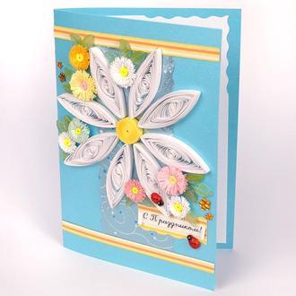 Красивая открытка с цветами ручной работы