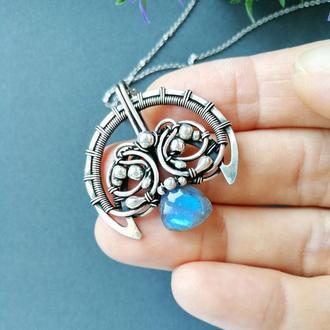 Серебряная Лунница с голубым лабрадором. Авторское украшение в подарок женщине, девушке, подруге