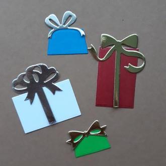 Вырубка набор Новогодние подарки, Высечки, декор для скрапбукинга