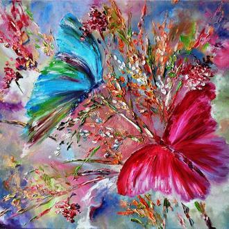 """Картина маслом """"Солнечные зайчики"""", бабочки,80х60 см"""