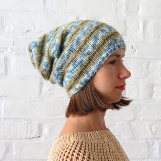 Шапка бини женская вязаная, синяя шапка зимняя с шерстью альпака