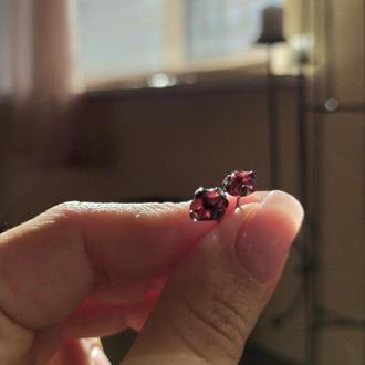 Сережки mini з гранатом