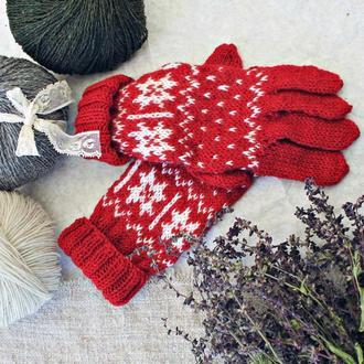 Рукавички  із ново-зеландської вовни с норвежським орнаметном, перчатки.