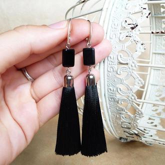 Черные серьги шелковые кисти, серьги кисточки, вечерние серьги