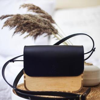 Стильная сумочка из дерева и натуральной кожи Sekvoia