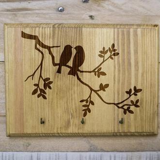 "Настенная ключница ""Птички"" 29 из дерева"