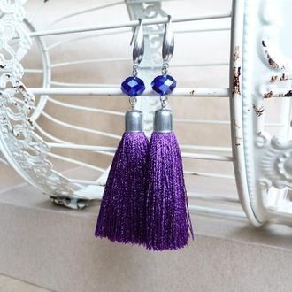 Фиолетовые серьги шелковые кисти, серьги кисточки, вечерние серьги, темные серьги
