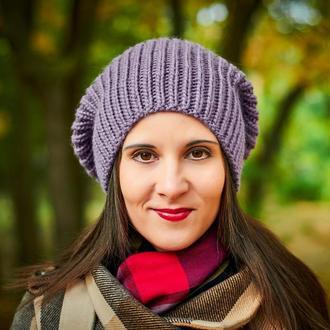 Пыльно-фиолетовая зимняя шапка
