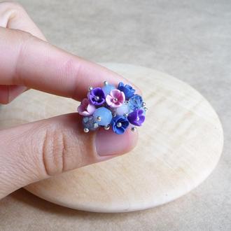 Фиолетово розовое кольцо, кольцо с цветами, подарок девушке, миниатюрные цветы ручной работы