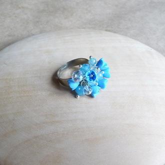 Голубое кольцо, кольцо с цветами, подарок девушке, миниатюрные цветы ручной работы