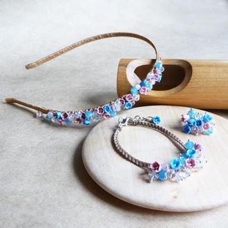 Голубо розовый комплект украшений, подарок девушке, подарочный набор, обруч, браслет, кольцо