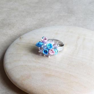 Голубо розовое кольцо, кольцо с цветами, подарок девушке, миниатюрные цветы ручной работы