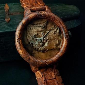 WOLFS!!! Наручний дерев'яна кам'яний годинник. Дерев'яна яний браслет