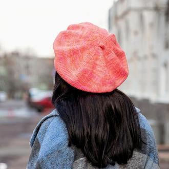 Коралловый берет вязаный, шерстяной берет на осень зиму, женская шапка под пальто