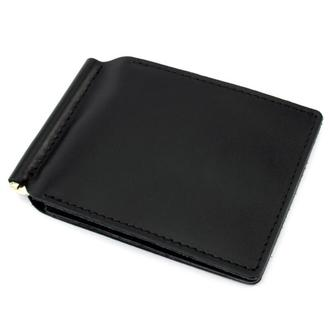 Кожаный зажим для денег Crez-51 на магните (черный)