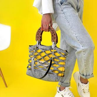 Невероятная осенняя сумочка Figlimon WONDER  светло-серая с желтой косметичкой