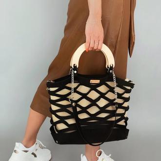Дизайнерская сумочка-авоська из войлока и эко-кожи | черная с бежевой косметичкой