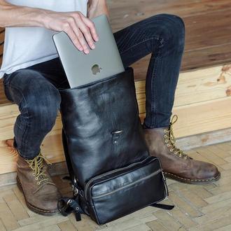 Мужской кожаный рюкзак для ноутбука, Рюкзак трансформер