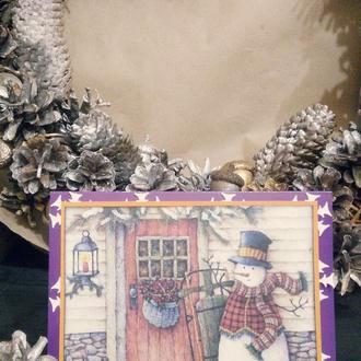 Горизонтальная открытка со снеговиком