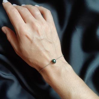Изящный браслет с натуральным жемчугом. Подарок. Тоненький браслет цепочка.