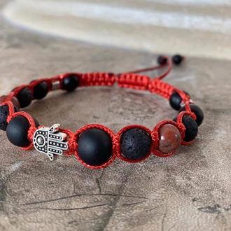 Браслет-шамбала: шунгіт, червона яшма, лава, долонька(хамса)
