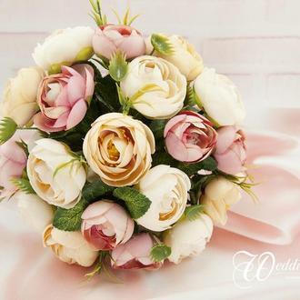 Букет-дублер персиковый / Букет-дублер для свадьбы пудровый / Букет невесты / Букет подружкам