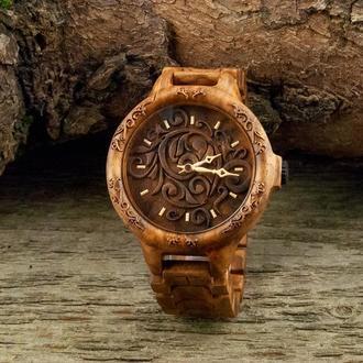 Noah Miracle Наручные деревянные часы кап ореха. Наручний дерев'яний годинник. Чоловічій годинник