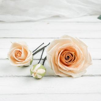 Шпильки для волос с цветами, Персиковые розы в прическу для невесты