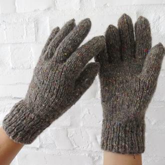 Перчатки вязаные серые из твида, осенние перчатки женские