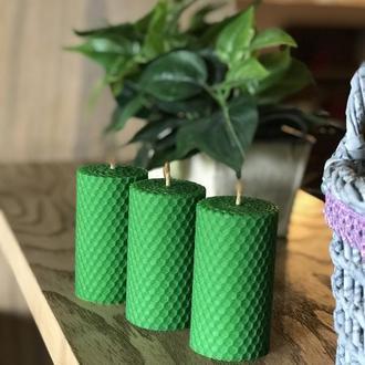 Набор из трех свечей 8.5*4.5 см зеленого цвета для дома, подарков и декора интерьеров