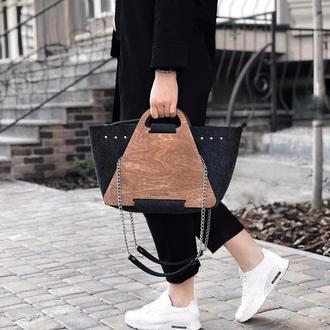 Женская сумка-конструктор с деревянными панелями FIGLIMON L| черная