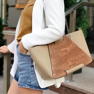 Стильная женская сумка на осень из войлока с деревянными панелями FIGLIMON L| бежевая