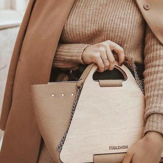 Стильная женская сумочка с элементами дерева FIGLIMON L  бежевая