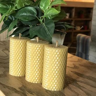 Набор подарочных эко свечей из вощины 8.5×4.5 см, 3 шт