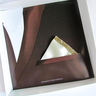 Паше (нагрудный платок для пиджака) треугольный айвори для праздника
