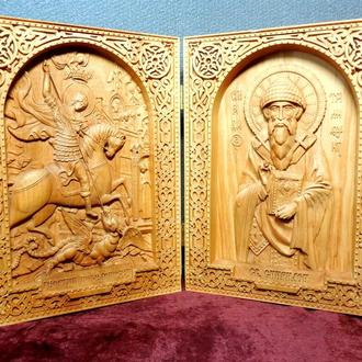 Икона резная диптих Георгий Победоносец и Св. Спиридон