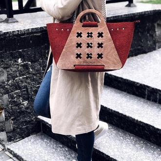 Женская стильная сумка-конструктор FIGLIMON L| бордовая