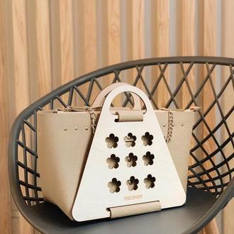 Стильная зимняя женская сумка с деревянными панелями FIGLIMON L| бежевая с цветочками