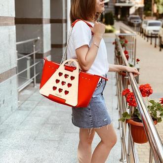 Яркая и очень стильная женская сумка FIGLIMON L| красная