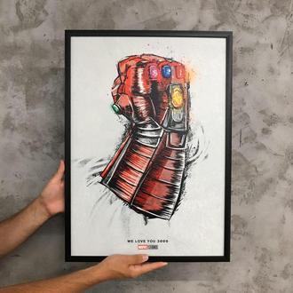 "Постер на ПВХ 3 мм. в рамке ""Тони Старк : Я Люблю Тебя 3000"" (Iron Man : I Love You 3000)"