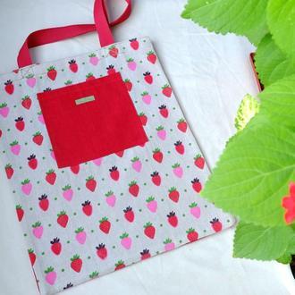 Сумка для покупок с клубникой, эко сумка, торба, пляжная сумка, сумка шоппер 17