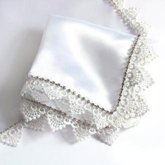 Платочек со стразами люкс белый для венчания / свадьбы / крещения