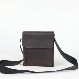 "Мужская сумка ""Модель №40"" Винтажная кожа цвет Шоколад"