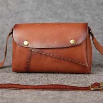 """Женская сумка """"Модель №22"""" Кожа Итальянский краст цвет Коричневый"""